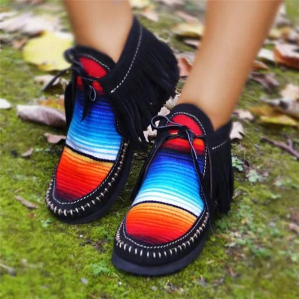 Upawear Fashion Rainbow Striped Lace Up Flats Shoes Stitching Tassel Shoes