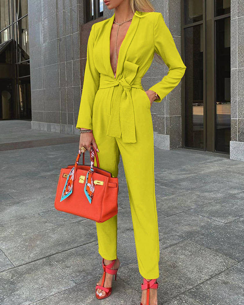 Sexy Fashion Solid Color Tie Deep V Casual Jumpsuit