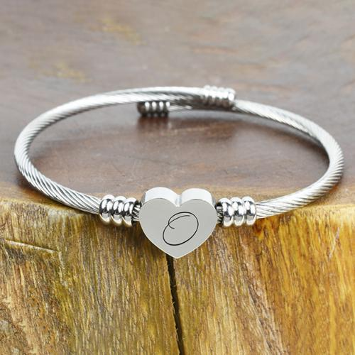 Solid Stainless-Steel Heart Initial Cable Bangle - All Letters