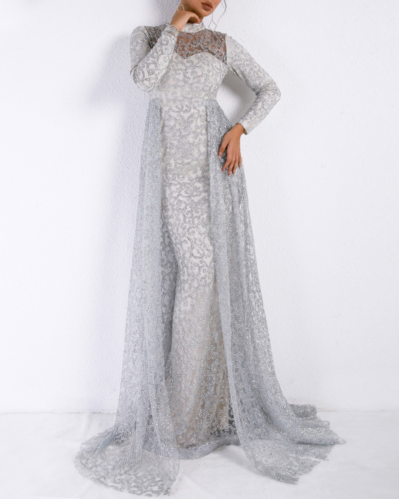High Neck Long Sleeve Mopping Floor Evening Dress