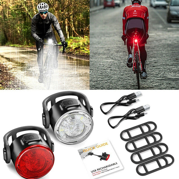 LED Lamp Bike Bicycle Front Head Light Rear Safety Waterproof Flashlight USB Charge Waterproof 4 Modes Bicycle Taillight Mountain Bike Warning Light