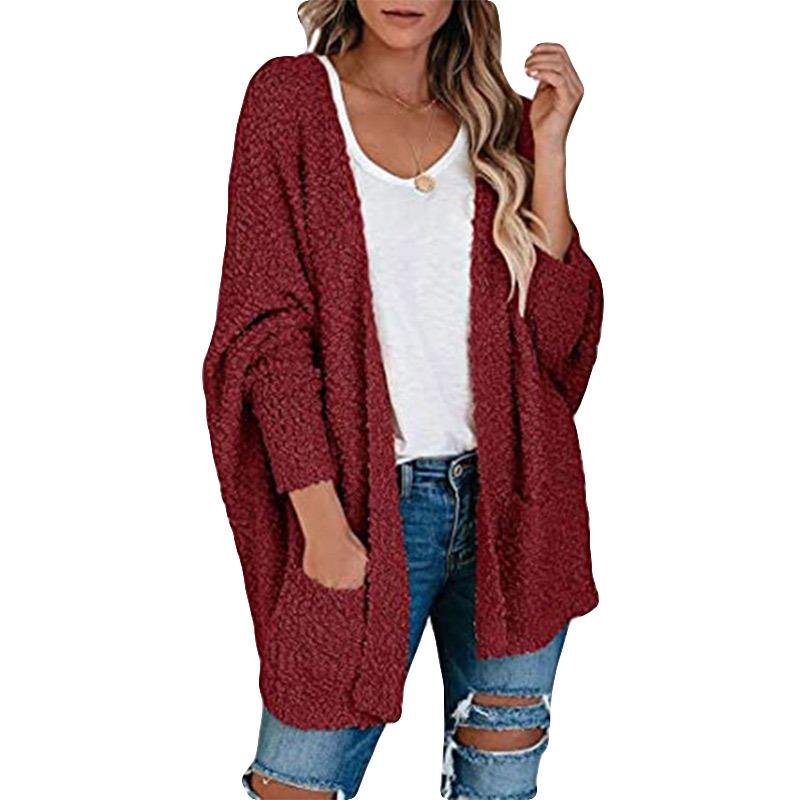 Women's batwing popcorn cardigan with pockets open front chunky cardigan sweater