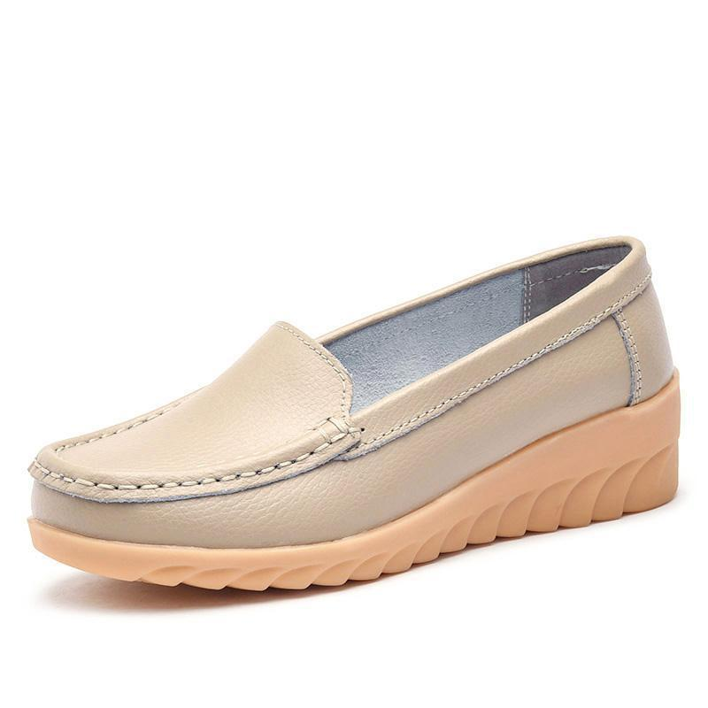 Non-slip Beef Tendon Leather Moccasins Soft Loafers for Women