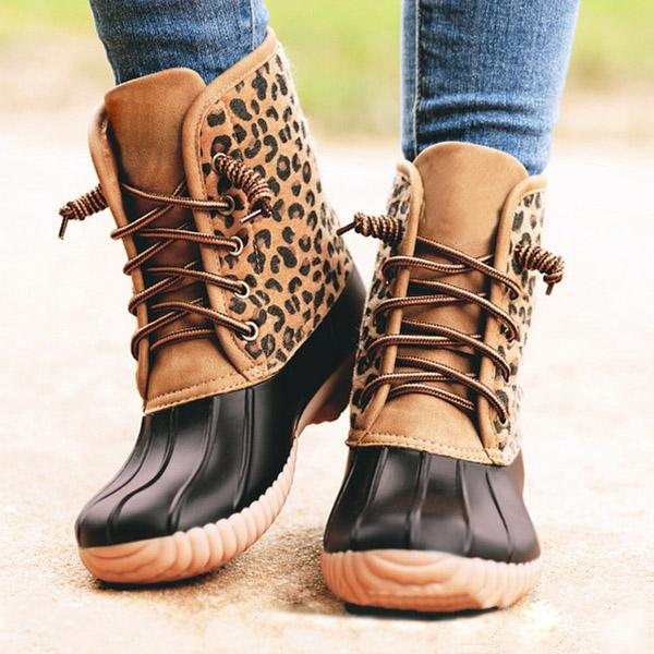 Trendymap Women Waterproof Lace Up Duck Boots