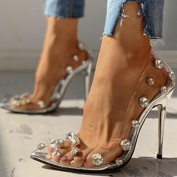 Mokoshoes Transparent Studded Thin Heels
