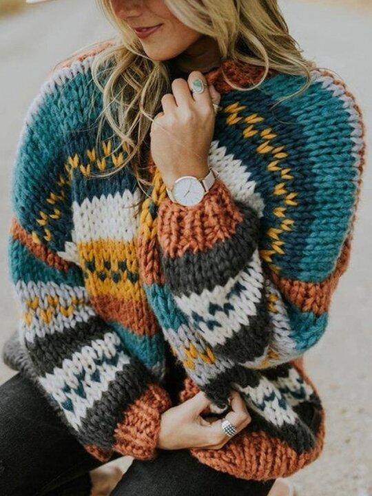Multicolor Stitching Coat Casual Striped Cardigan Sweater
