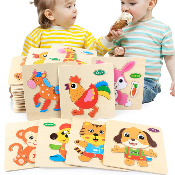 Baby Toys Wooden 3d Puzzle Cartoon Animal Intelligence Kids Educational Brain Teaser Children Tangram Shapes Learning Jigsaw