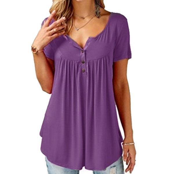 Women Plain Ruched Short Sleeve Button Casual Casual Vest Tank T-shirt Tops