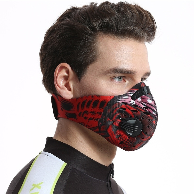 Cycling Face Mask Anti-Dust Mask for Women and Men Bike Active Carbon Mask with Breathing Valve Anti-Pollution Protective Sports Mask for Outdoor