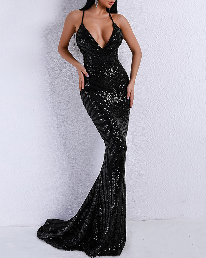 Off-The-Shoulder Sexy Sequin Evening Dress