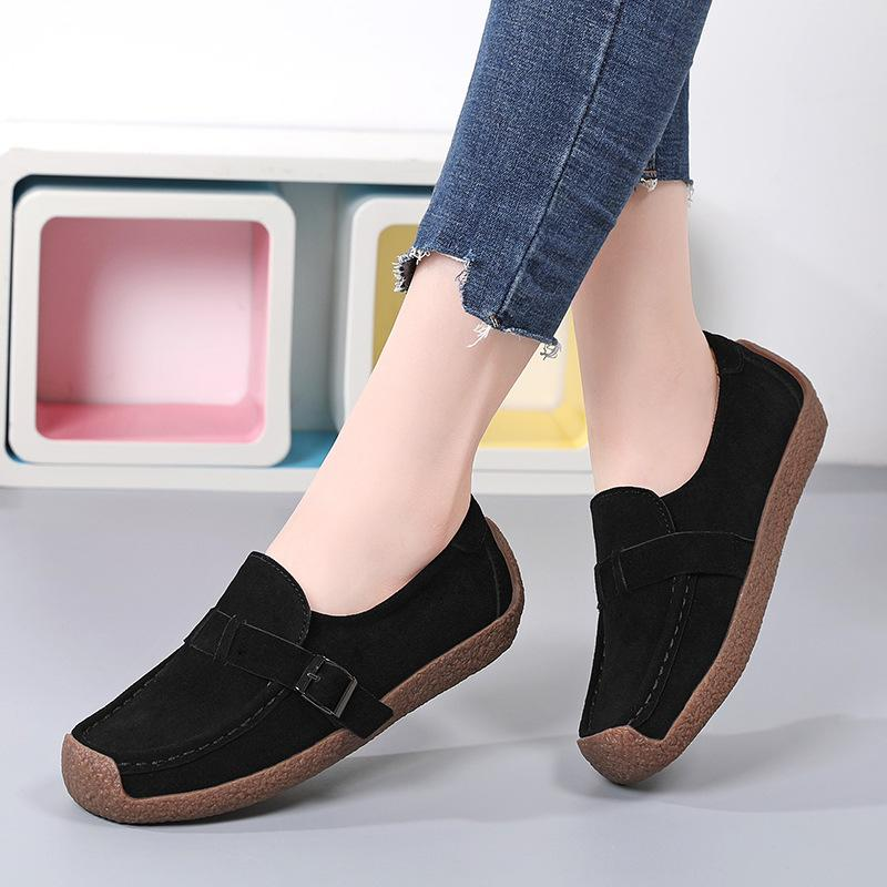 Women's flat buckle strap loafers slip on flat shoes for spring/fall