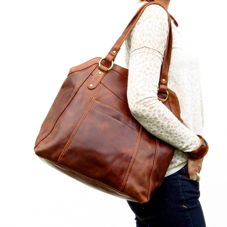 Large Brown Leather Handbag Tote, Leather Shoulder Bag, Leather Bag, Leather Purse, by The Leather Store