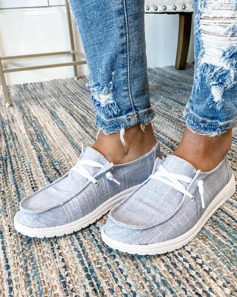 (Buy 2 Get 1 Free) 💜Women's Canvas Lace-Up Loafers