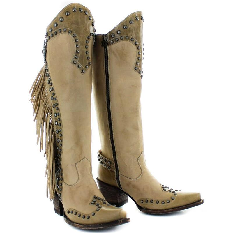 Women'S Studded Fringed Long Western Boots