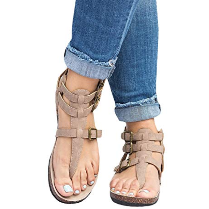 Ankle Buckle Strap Thong Flat Sandals