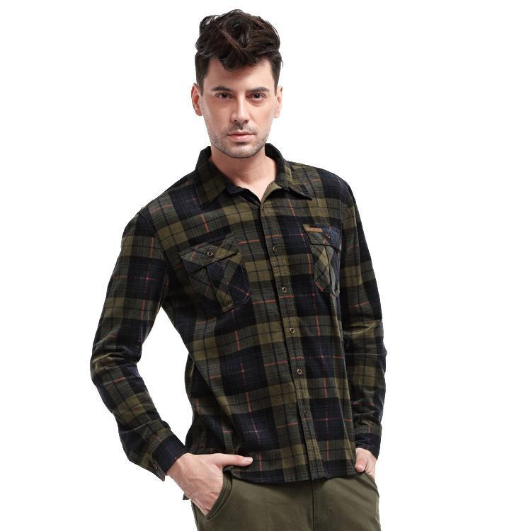 Men Cotton Plaid Casual Blouse&Shirt Top