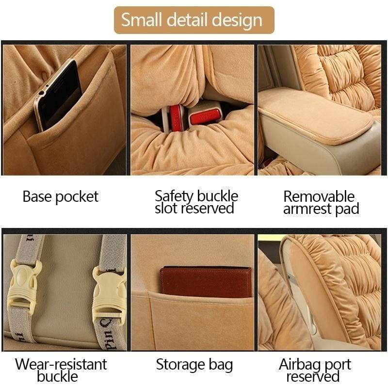 Plush Car Seat Covers Universal Winter Warm Front/Rear Car Seat Cover Full Seet Seat Protector For Car SUV Truck