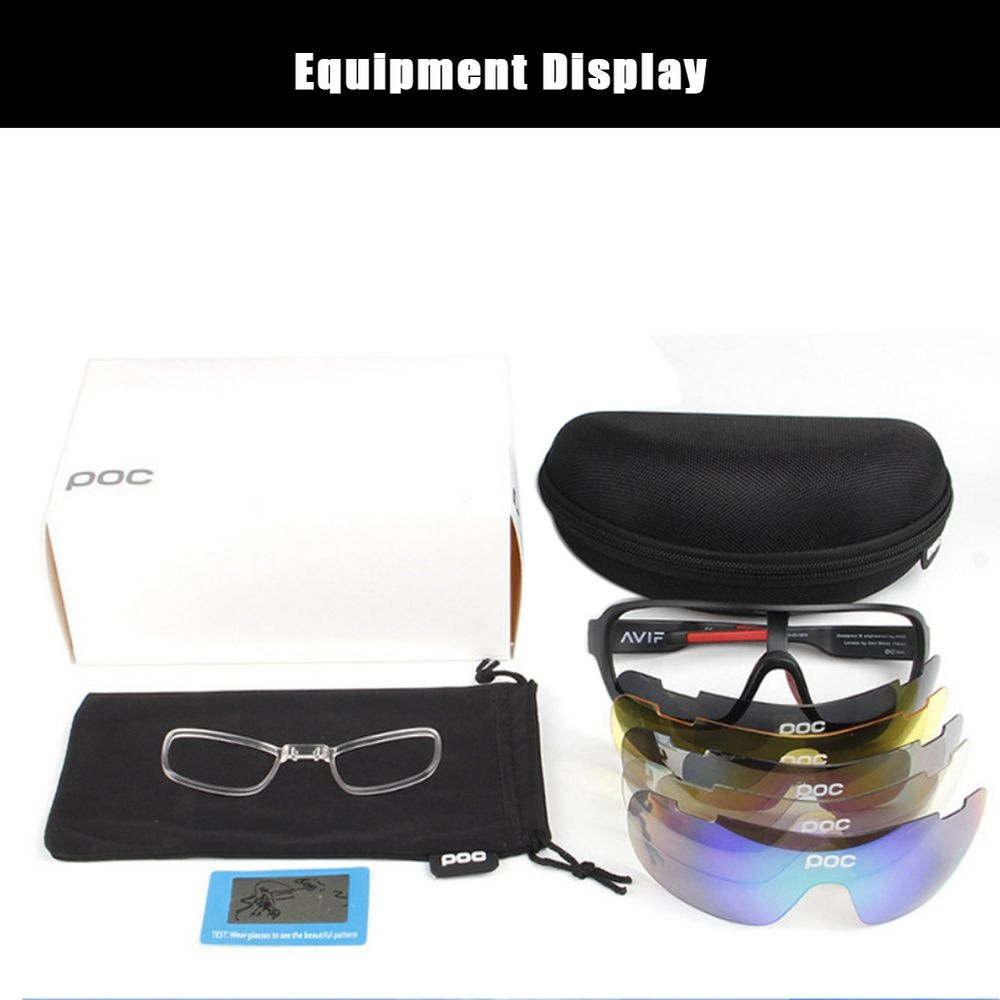 Cycling Equipment Bicycle Glasses 5 Pieces Polarized Outdoor Riding Mirror Riding Goggles
