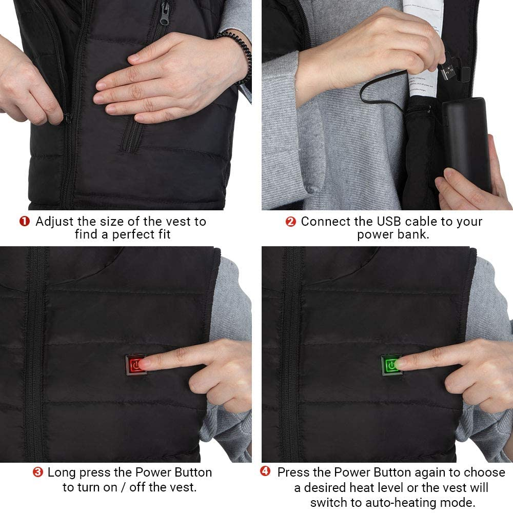 USB Charging Lightweight Carbon Fiber 8 Areas Heated Vest For Man & Woman