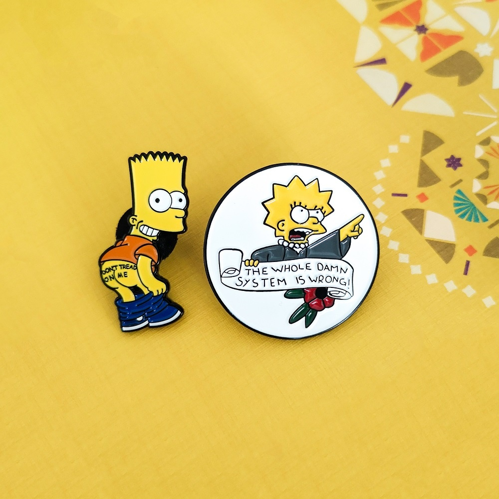 Lisa  Simpson Aesthetic Meme Enamel Pins 'The Whole Damn System Is Wrong' Feminist Jewely