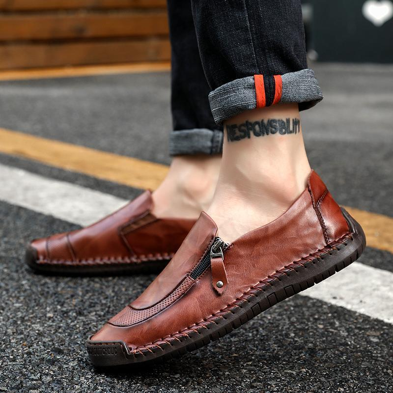 Men's Leather Hand Stitching Zipper Non-Slip Casual Loafers