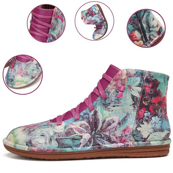 Bonnieshoes Retro Printing Pattern Lace Up Zipper Comfy Flat Boots