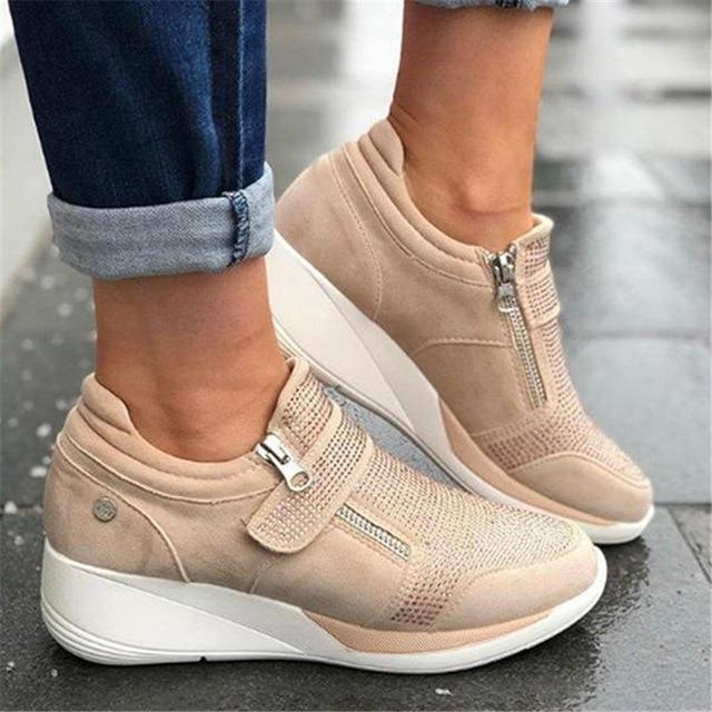 Women's fashion wedge sneakers magic tape casual shoes for comfy walking