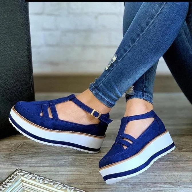 Women Casual Daily Comfy Buckle Strap Sneakers