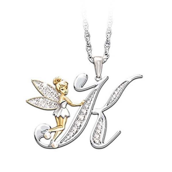 Lovely 26 Letter A-Z Flower Fairy with Angel Wings Necklace Pendant Jewelry Gifts for Princess Girls Women
