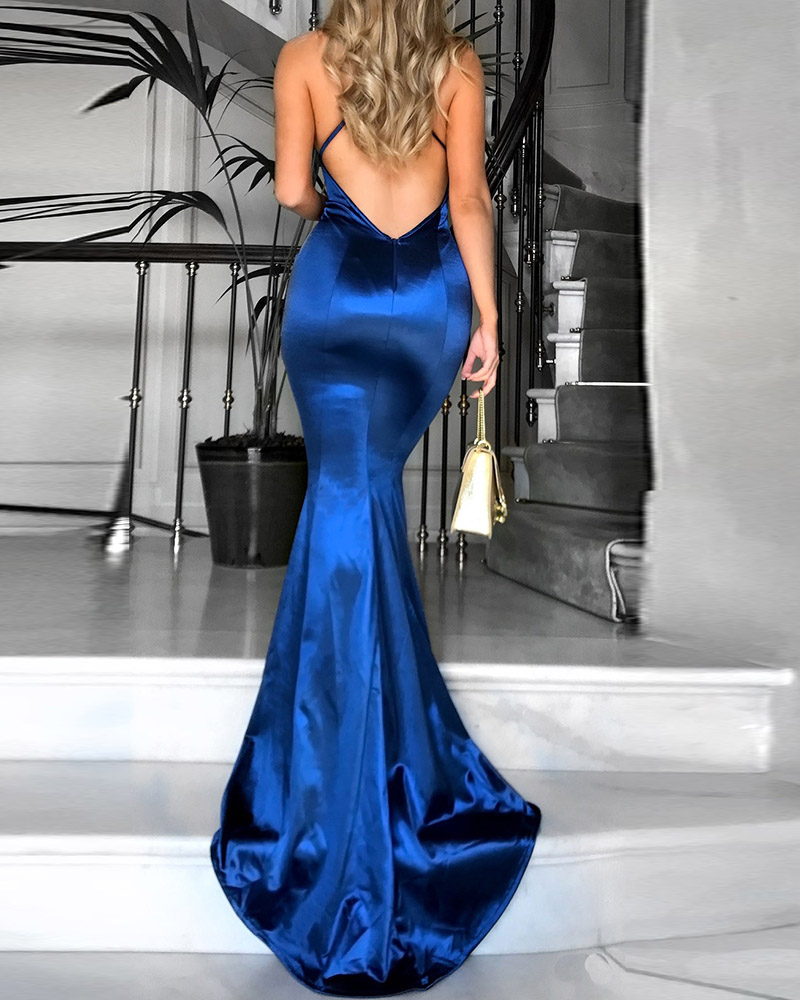 Sexy Fashion Suspenders Solid Color Evening Dress