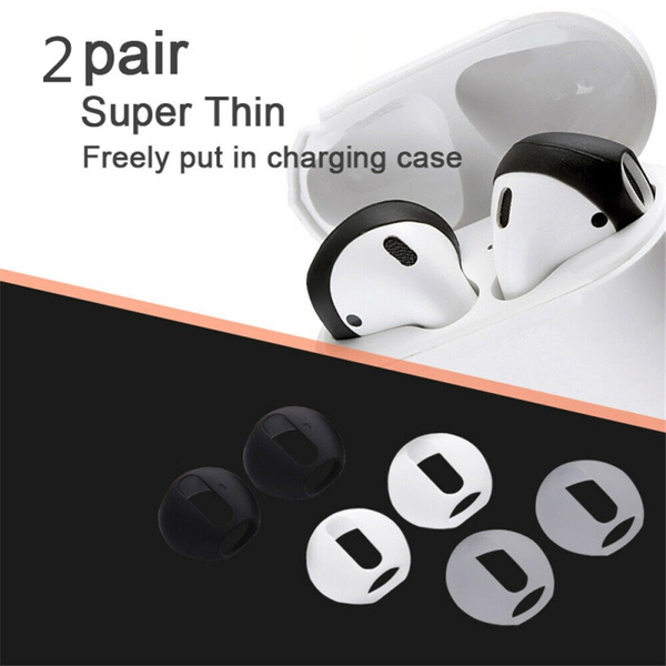 2 Pair Silicone Case Cover Earbud Anti Slip Earphone Tips for Apple AirPods Earpods
