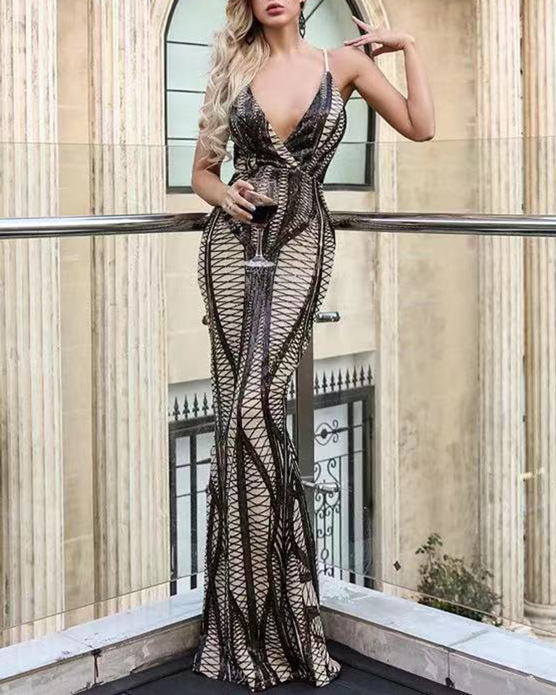 Sexy Off-The-Shoulder Cross Sequin Fish Tail Evening Dress