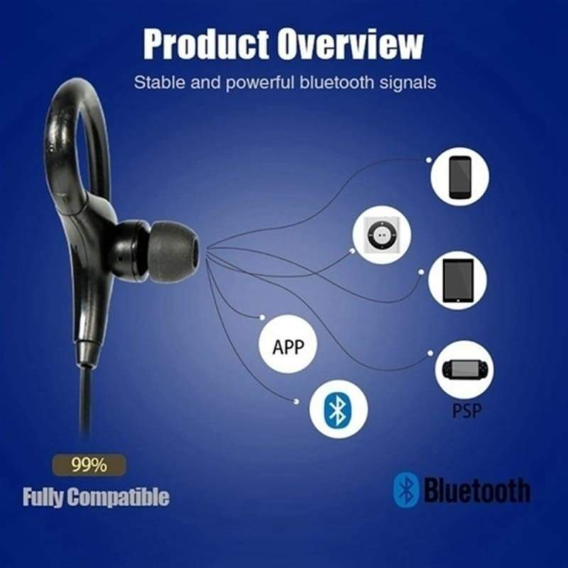 Wireless Headphone Stereo Music Bluetooth Earphone Ear Hook Waterproof Sport Headphone for Running Fitness Exercise