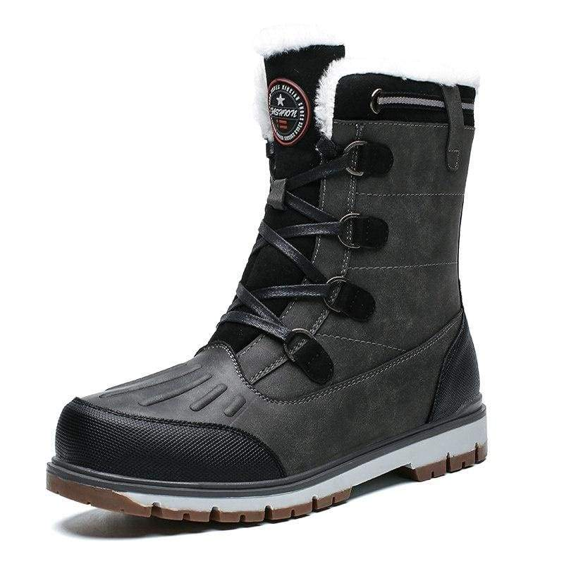 Winter Mens Snow Boots Waterproof Men's Anti-Slip Warm Fur Winter Boots Lace-up Shoes for Outdoor Indoor