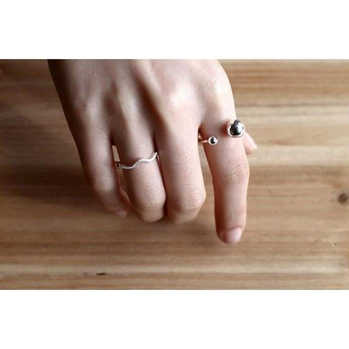 925   jewelry large and small double ball opening rings for women