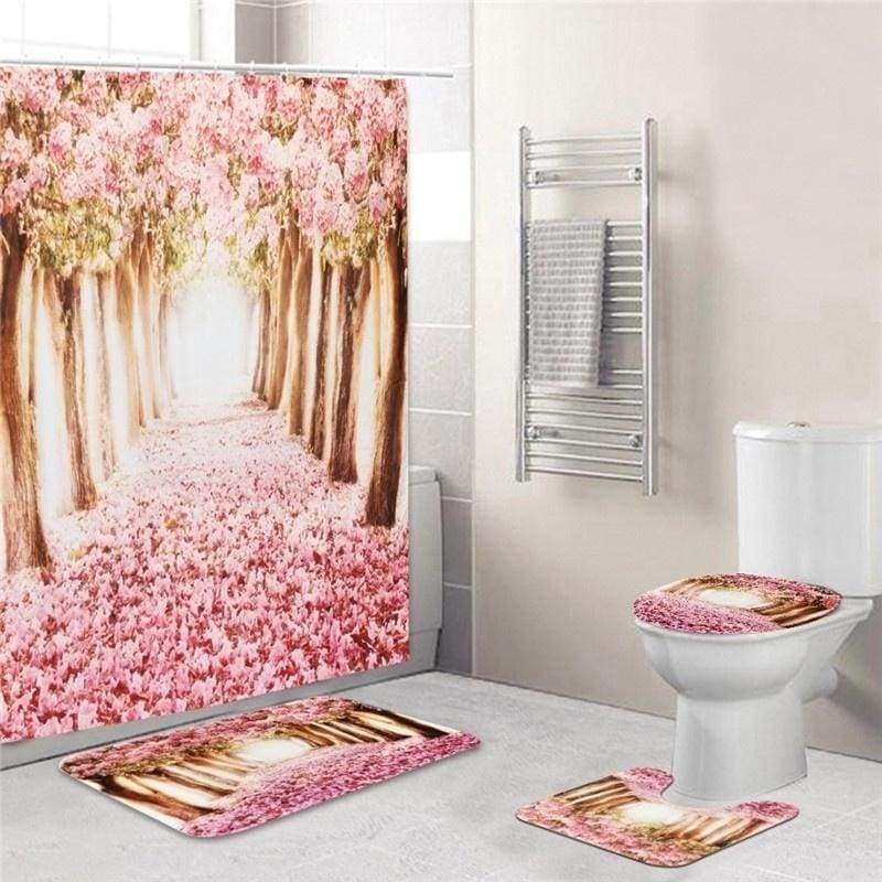 2020 New Style Europe Pink Sakura Tree Pattern Bathroom Four-piece Suit,Shower Curtain Bathroom Pedestal Rug Lid Toilet Cover Bath Mat Set