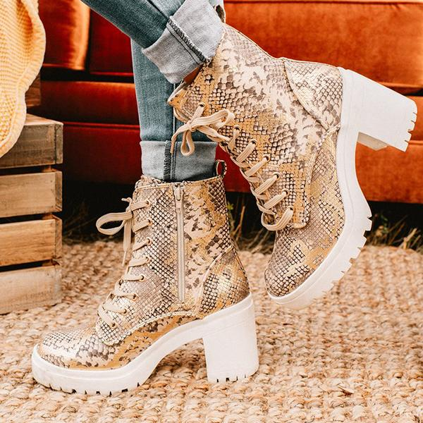 Bonnieshoes Buckle Heeled Lace Up Booties
