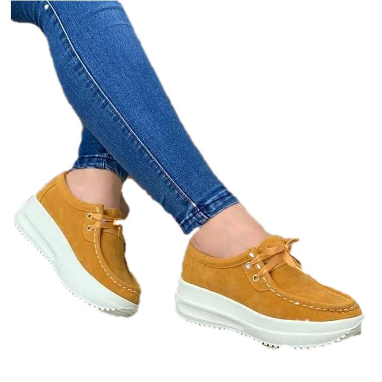 Women's front lace thick platform sneakers lightweight walking shoes