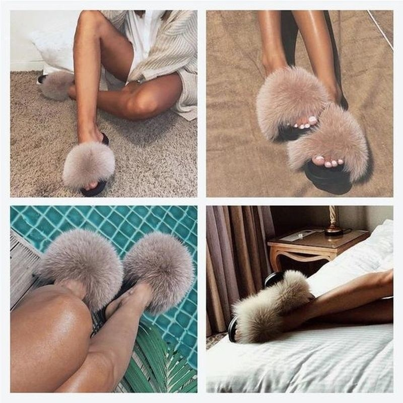 Women New Fashion Fluffy Faux Fur Slippers Sandals Indoor Outdoor Plush Slides Home Flat Shoes