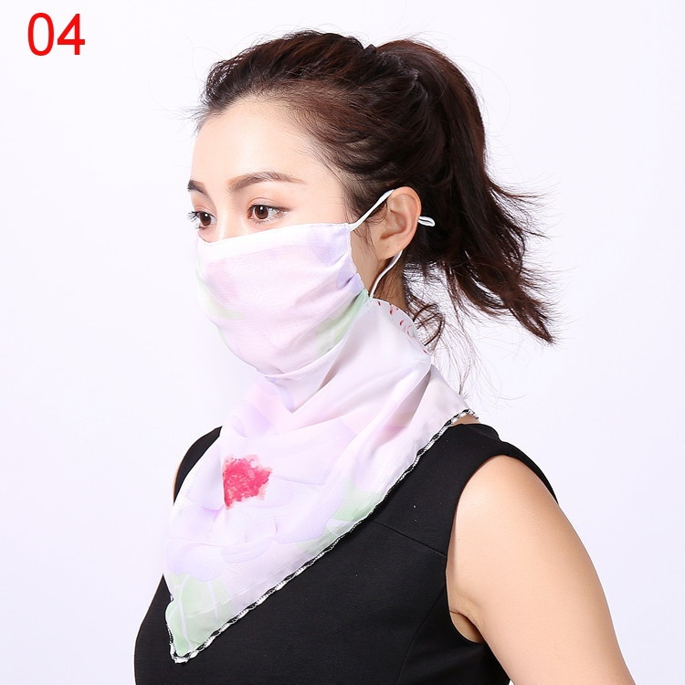 Women Sun Protection Scraf Mask Summer Fashion Floral Chiffon Mouth Mask Outdoor Driving Face Covering Mask