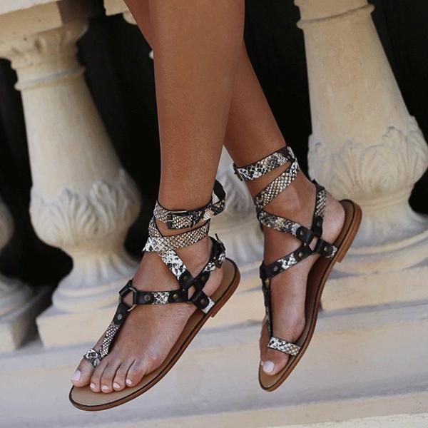 Mokoshoes Ankle Strap Flat Heel Strappy Comfortable Sandals