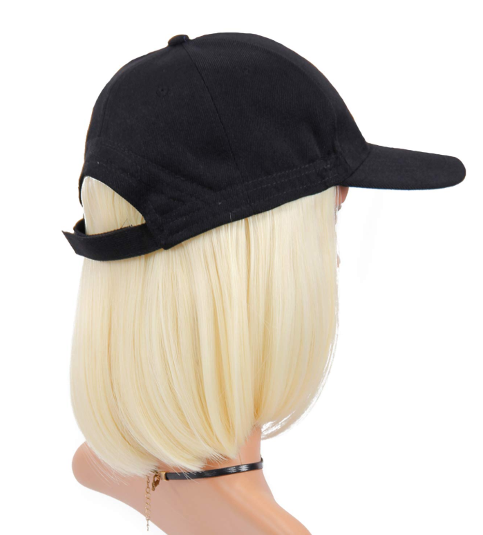 Baseball Cap Wig with Hair Extensions Synthetic Wave Wig Hat for Women Adjustable Black Baseball Hat