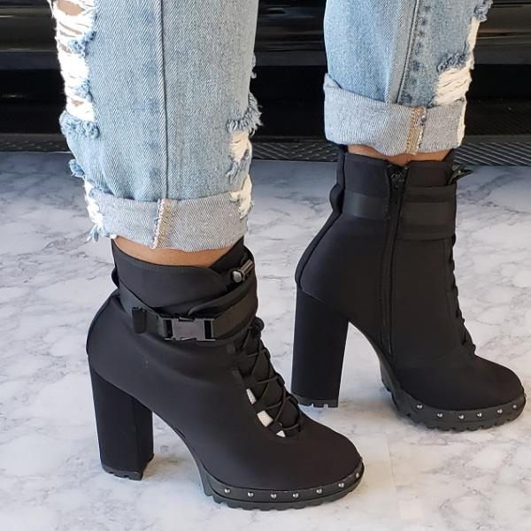 Faddishshoes Side Buckle Zip Lace-up High Heel Boots