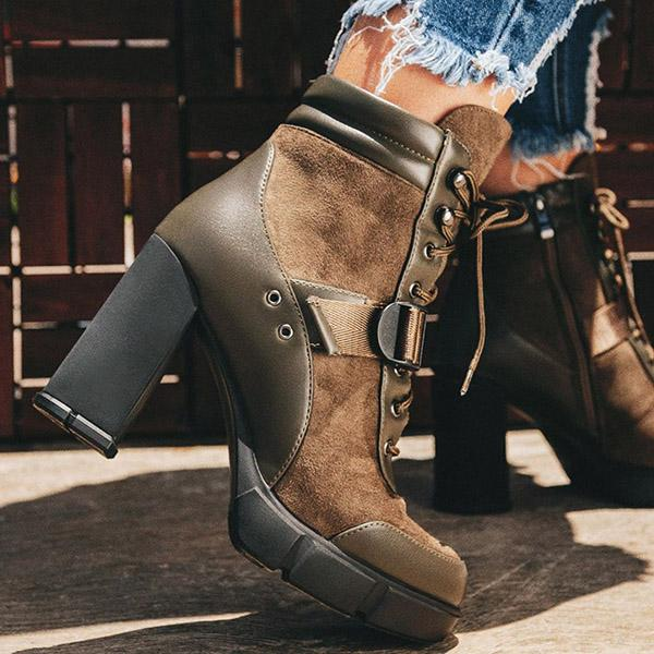 Faddishshoes Adjustable Buckle Straps Platform High Heel Ankle Boots