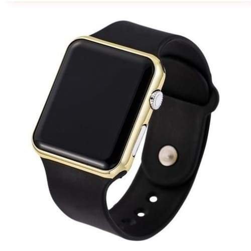 New Fashion Square Mirror Face Silicone Band Digital Watch Red LED Watches Metal Frame WristWatch Sport Clock Hours