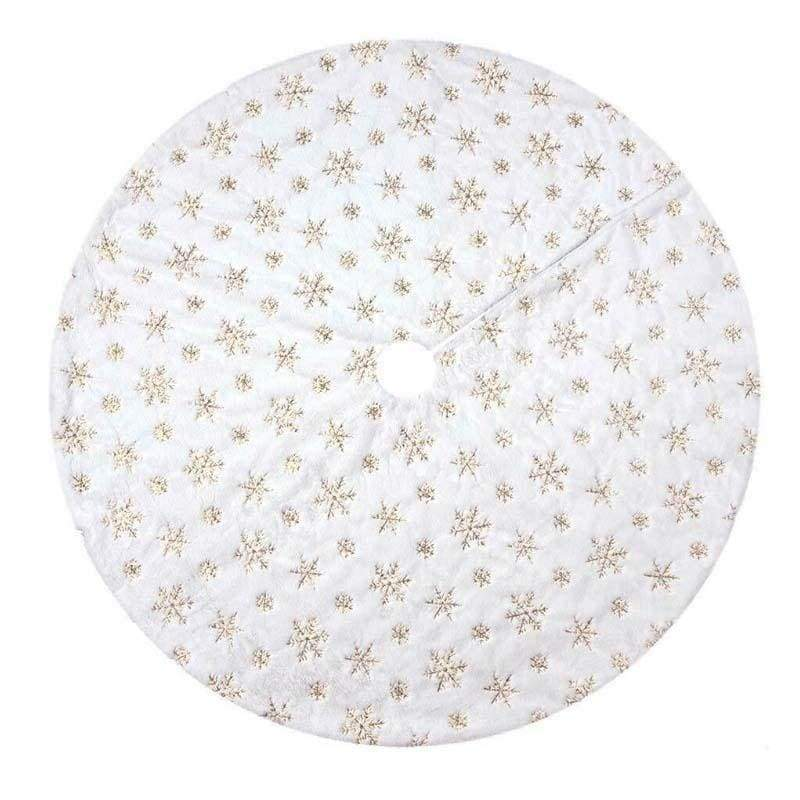 Christmas Snowflake Embroidery Tree skirt Cute Christmas Tree Decoration Family Party Decoration