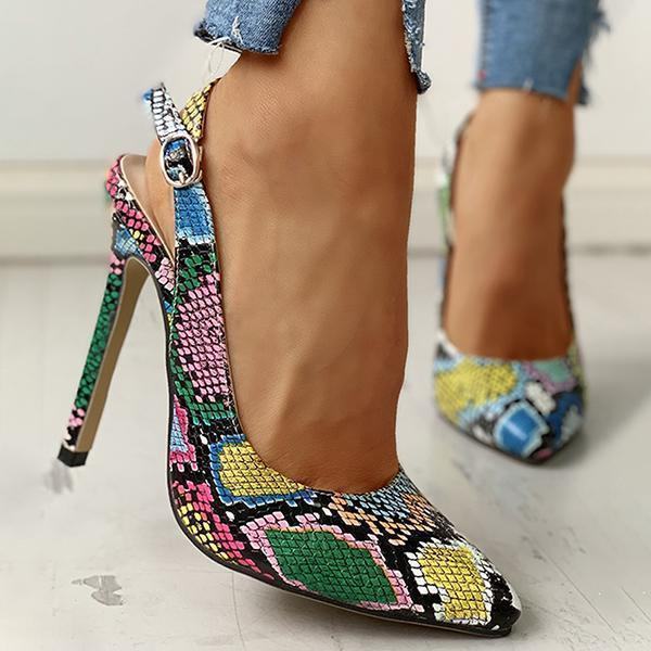 Bonnieshoes Snakeskin Print Pointed Toe Thin Heeled Sandals
