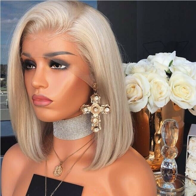 100% Human Hair Wigs Blonde Glueless Lace Front Wig Brazilian Bob Full Lace  12 inches