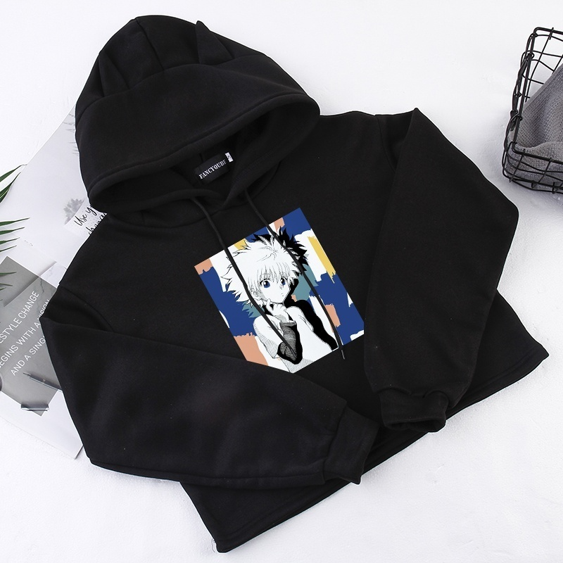 Style 2020 Fashion Funny Japanese Anime Hunter X Hunter Hoodies Women Casual Long  Sleeve Cropped Hoodie Cotton Pullover Crop Tops