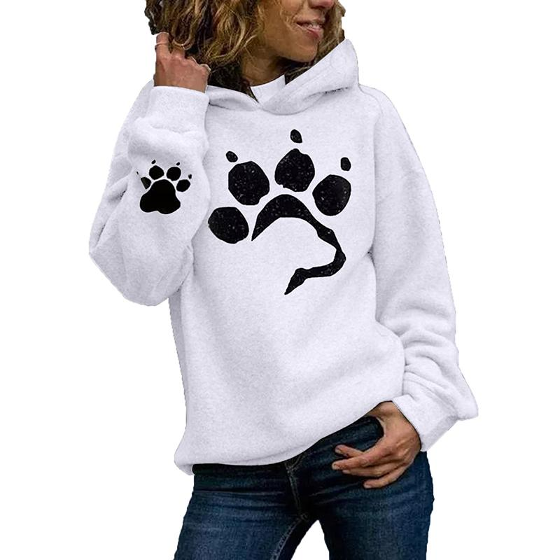 Women Pullover Cat Claws Printed Winter Fall White Sweatshirt